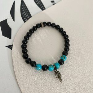 100%Authentic Chrome Hearts Black Onyx Jade And Silver Beads Bracelet